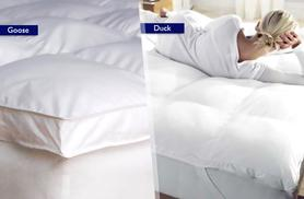From £24.99 (from Groundlevel.co.uk) for a duck feather and down mattress topper, from £29.99 for goose feather and down