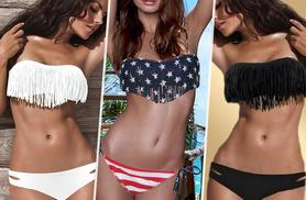 £6 instead of £29.99 for a bandeau fringe bikini in a choice of 13 colours - stand out on the sand and save 80%