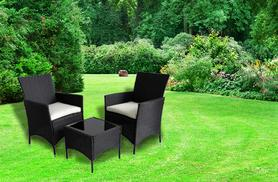 £119 instead of £289 for a three-piece Venice rattan garden table and chairs set - choose from black or brown and save 59%