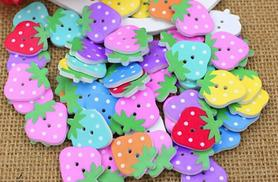 £2 instead of £14.99 (from Alvi's Fashion) for a pack of 50 colourful strawberry-shaped wooden buttons, or £4 for 100 buttons - save up to 87%