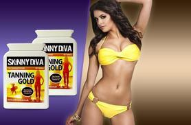 8 instead of £29.99 (from Skinny Diva) for a 2-month* supply of 'Tanning Gold' tablets, £14 for a 4-month* supply - save up to 73%