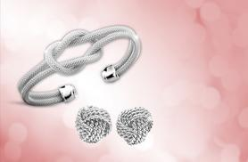 £5 instead of £29.99 (from Romatco) for a pair of silver plated love knot earrings, £8 for a bracelet or £10 for both - save up to 83%