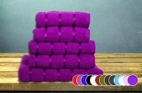 £16.99 (from Groundlevel.co.uk) for a 5pc Egyptian cotton with satin stripe bale of towels in a choice of 13 colours