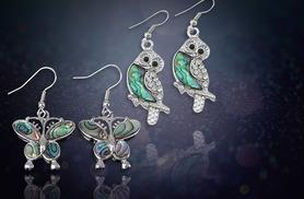 £6 instead of £58 (from ) for a pair of abalone shell plated butterfly or owl drop earrings - save 86%