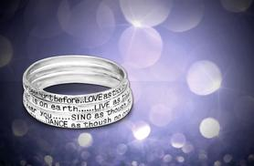 £6 instead of £39.95 (from Simply 18k) for a set of four poetry bangles with a love, live, sing or dance quote engraved on each - save 85%