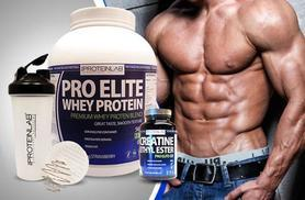 £39 instead of £104.97 (from The Protein Lab) for a 28-day* supply of whey protein shake, 600ml shaker bottle and 240 creatine tablets - save 63%