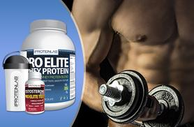 £34 instead of £109.98 (from The Protein Lab) for a 2.25kg of whey protein shake, 600ml shaker bottle and 60 testosterone boosters - save 69%