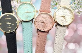 £7 instead of £29 (from Elle and Be) for a Geneva faux leather blossom watch - choose from four colours and save 76%