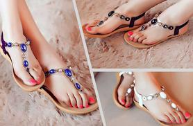 £7.99 instead of £29.99 (from Shine Accessories) for a pair of gem sandals - choose from 3 colours and save 73%