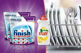 £9.99 for a pack of 72 Finish Quantum Powerball dishwasher tablets and a 1L  bottle of lemon Fairy Liquid, £35.99 for 288 Finish tablets and 1L of Fairy - save up to 58%