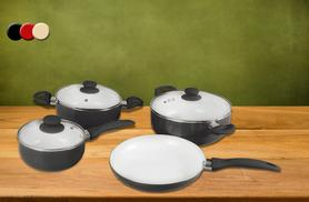 £24.99 instead of £151 (from Zoozio) for a seven-piece ceramic pan set - choose from three colours and save 83%