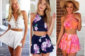 £9.99 instead of £39.99 (from Marcus Emporium) for a chiffon co-ord crop top and shorts set - choose from six designs and save 75%