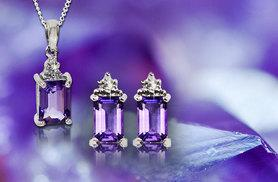£45 instead of £129 (from Bijou Amour) for a blue topaz or amethyst pendant and earring set with diamond chip edging - save 65%
