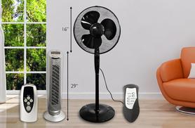"£19 instead of £94.95 (from Fishoom) for a 16"" black oscillating fan, or £28 for a 29"" silver fan - stay cool and save up to 80%"