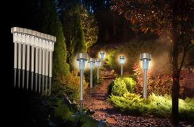 £7.99 (from Zoozio) for 10 stainless steel solar post white lights, £14.99 for 20 white lights, £9.99 for 10 coloured lights, £16 for 20 coloured lights - save up to 80%