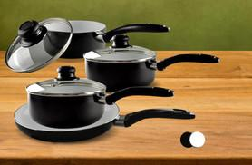 £24.99 instead of £153.98 for a seven-piece non-stick ceramic pan set - choose from black or cream and save 84%