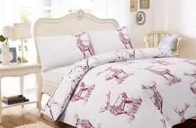 £9.99 (from Groundlevel) for a single Highland stag duvet cover set, £12.99 for a double, £14.99 for a king or £17.99 for a super king - save up to 80%