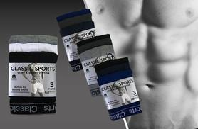 £5.99 instead of £9.99 (from The Fashion City) for 3 pairs of plain or camouflaged men's boxers, £10.99 for 6 or £16.99 for 10 - choose from 4 sizes and save up to 40%