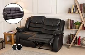 £299 instead of £748.96 for a reclining bonded leather two-seater sofa, £349 for a three-seater sofa, £599.99 for both - choose black or brown and save up to 60%