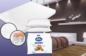 £89 for a single memory foam mattress, pillow and Silentnight summer duvet, £109 for a double and two pillows, £119 for a king, £139 for a super king