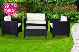£229 instead of £999 for a four-piece rattan garden furniture set - choose from four colours and save 77%
