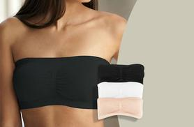 £6.99 instead of £49.99 (from Fizzy Peach) for a pack of three seamless bandeau bras in black, white and nude with removable pads - save 86%