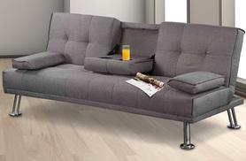 £119 for a grey Toronto fabric sofa bed with drinks table