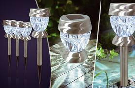 £9.99 instead of £29.99 (from Zoozio) for four white or coloured stainless steel solar crystal stake lights, or £19 for eight - save up to 67%