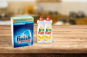 £10.99 for a pack of 114 Finish Powerball dishwasher tablets and 2 litre bottles of Fairy Liquid, £19.99 for 288 Finish tablets and 3 litres of Fairy - save up to 52%