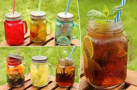 £6.99 instead of £11 (from Amos) for a set of three glass Mason drinking jars, or £12.99 for six jars - save up to 36%