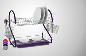 £8 instead of £36 for a two-tier dish drainer - choose from purple or chrome and save 80%