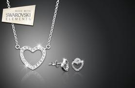 £6 (from Jewel Unique) for an 18ct white gold-plated pavé heart pendant necklace with Swarovski Elements, £9 with earrings
