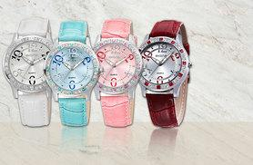 £9 instead of £39.99 (from Fakurma) for a ladies' crystal and leather watch - choose from four fabulous colours and save 77%