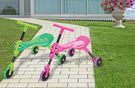 £19.99 instead of £33 for a Mookie Scuttlebug kids' tricycle - choose the pink butterfly or green grasshopper and save 39%