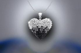 £7 instead of £84 (from Evoked Design) for a black and white heart pendant necklace made with Swarovski Elements - save 92%