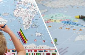 £10 for a doodle world map with crayons, or £14 for two - save 60%