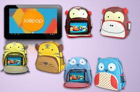 "£34.99 instead of £159 for a children's 7"" tablet and backpack bundle - choose from three groovy designs and save 78%"