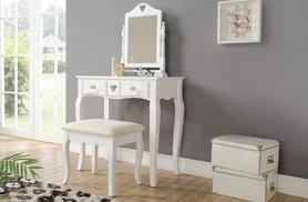 £89 instead of £190.05 for an antique-style love hearts dressing table with a matching mirror and stool from Wowcher Direct - save 53%
