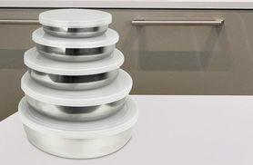 £5.99 instead of £12.99 for a 5-piece stainless steel bowl set with plastic lids - save 54%