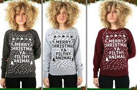 £8 instead of £29.99 (from The Fashion City) for a 'Merry Xmas Ya Filthy Animal' sweatshirt - choose from five colours and save 73%