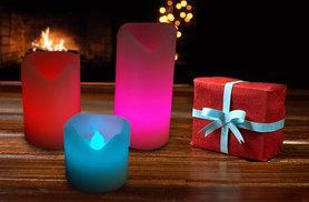 £6 instead of £36 (from Zoozio) for a set of three vanilla-scented wax LED candles - choose from two designs and save 83%