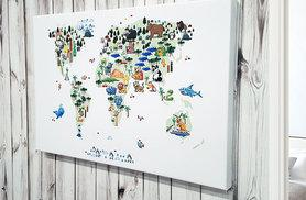 £9 (from Your Perfect Canvas) for an A2 animal world map canvas, £13 for A1 or £26 for A0 - save up to 84%