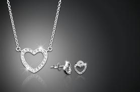 £8 (from Jewel Unique) for an 18ct white gold-plated pavé heart pendant necklace and earring set made with Swarovski Elements - save 94%