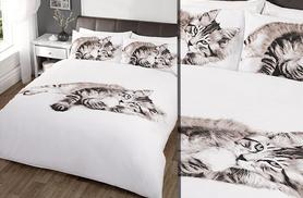 £10 instead of £14.01 for a cat-patterned duvet cover set for a single bed, £15 for a double or £18 for a king from Wowcher Direct - save up to 29%