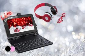 """£54 instead of £189 for a quad core 9"""" SmartPad Lite android tablet bundle, with headphones and your choice of a black or pink keyboard case - save 71%"""