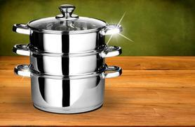 £8.99 instead of £36 for a three-piece stainless steel steamer set - save 75%