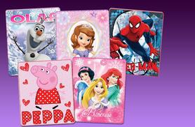 £5.99 (from Treats for Kids) for a children's cosy fleece character blanket - choose from 14 cute designs and save 70%