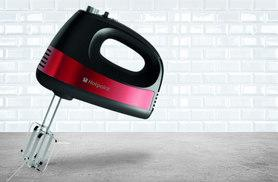 £19.99 instead of £46 for a Hotpoint 300W black and red hand mixer with beaters and kneading hooks - save 57%