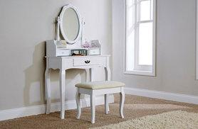 £99 for a white antique-style dressing table, mirror and stool from Wowcher Direct + DELIVERY IS INCLUDED!