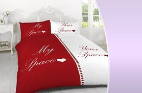 £11.99 (from Groundlevel) for a double 'My Space, Your Space' duvet set with two pillowcases, £15.99 for a king or £17.99 for a superking - save up to 76%